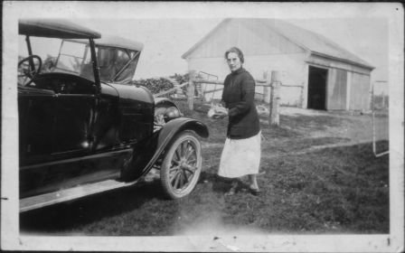 Agnes Macphail conducted early political campaigns out of her family home at Six Corners, travelling in her Starr automobile. Photo circa 1925 courtesy the Grey Highlands Public Library.