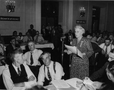 Agnes Macphail addressing members of the Canadian Commonwealth Federation (CCF) Convention in 1948. Courtesy the Grey Highlands Public Library.