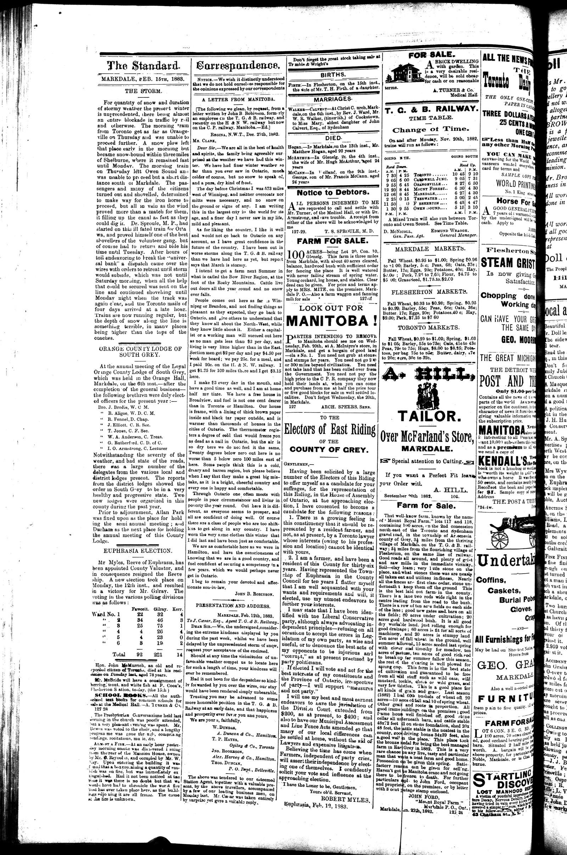 Markdale Standard (Markdale, Ont.1880), 15 Feb 1883