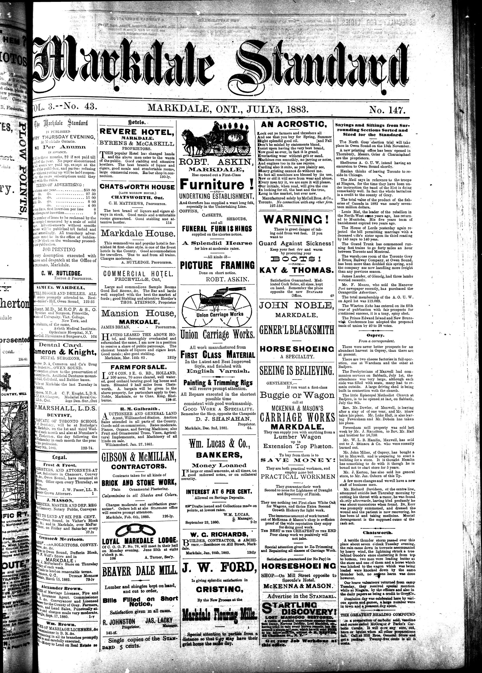 Markdale Standard (Markdale, Ont.1880), 5 Jul 1883