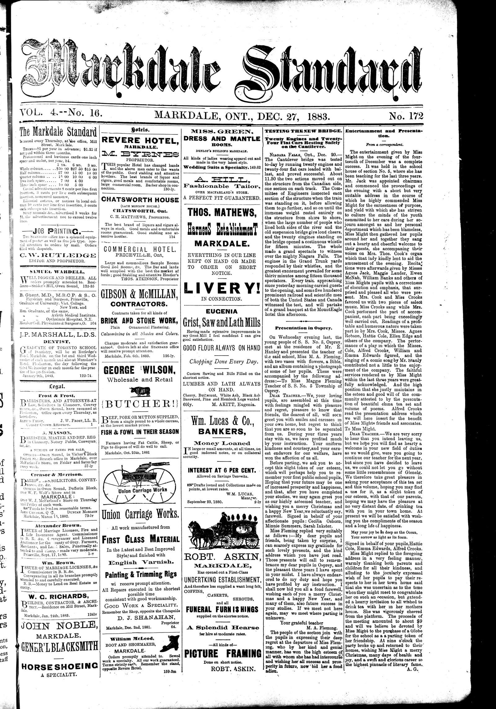 Markdale Standard (Markdale, Ont.1880), 27 Dec 1883