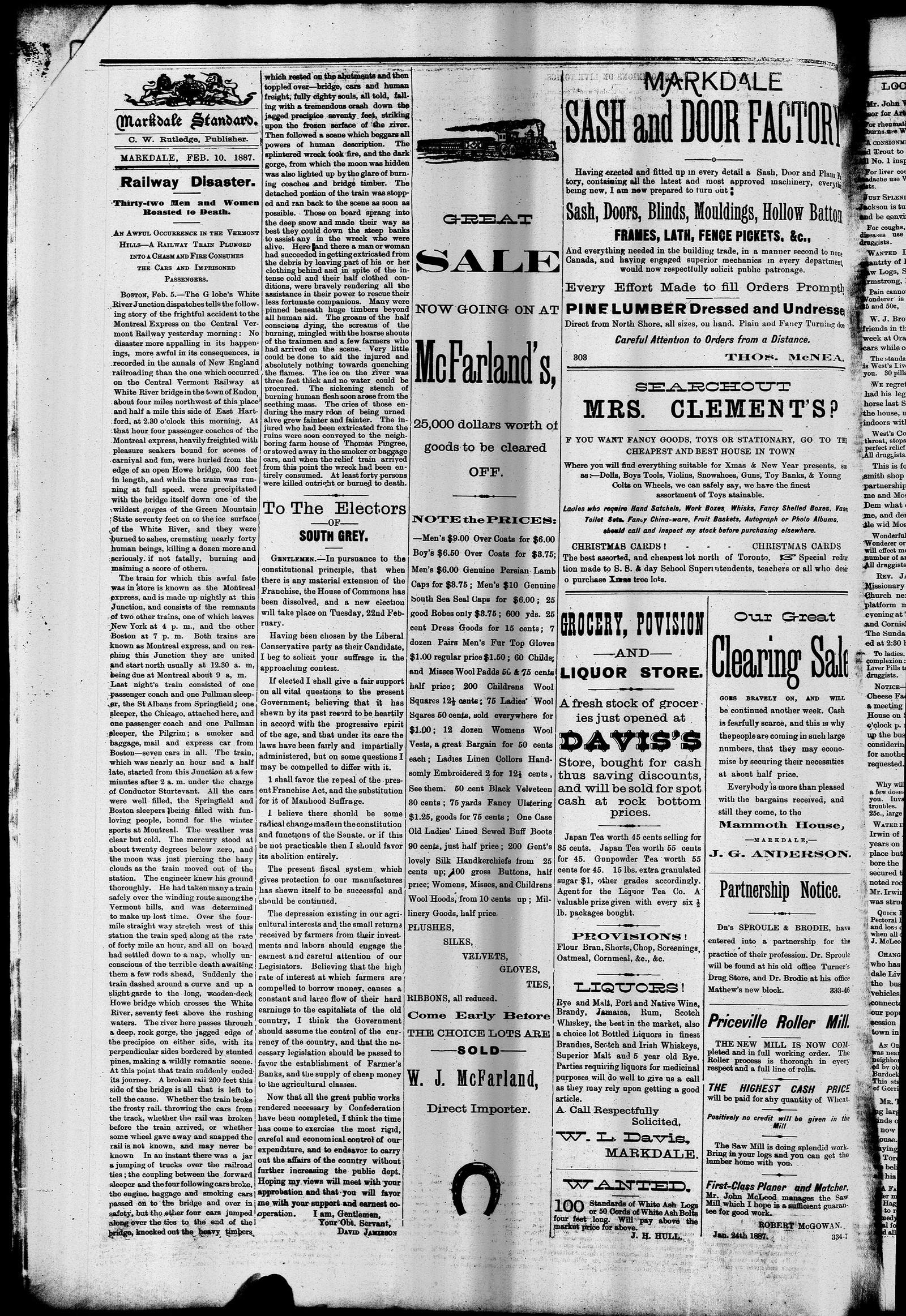 Markdale Standard (Markdale, Ont.1880), 10 Feb 1887