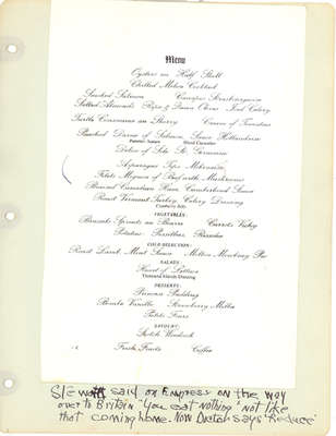 A menu from the Empress of Canada