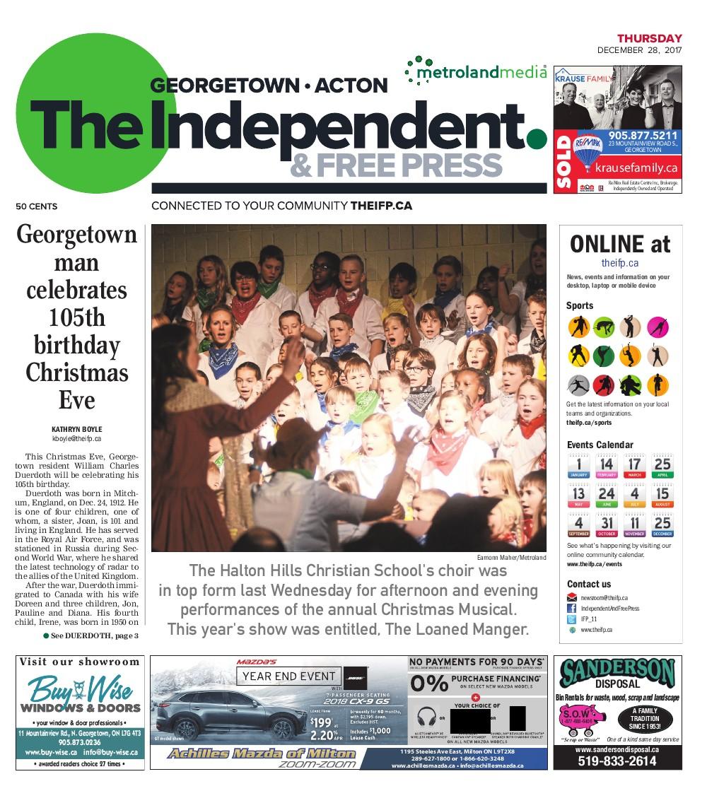 Independent & Free Press (Georgetown, ON), 28 Dec 2017