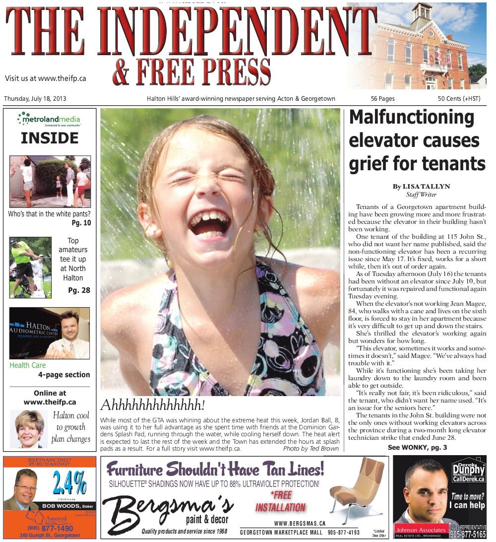 Independent & Free Press (Georgetown, ON), 18 Jul 2013