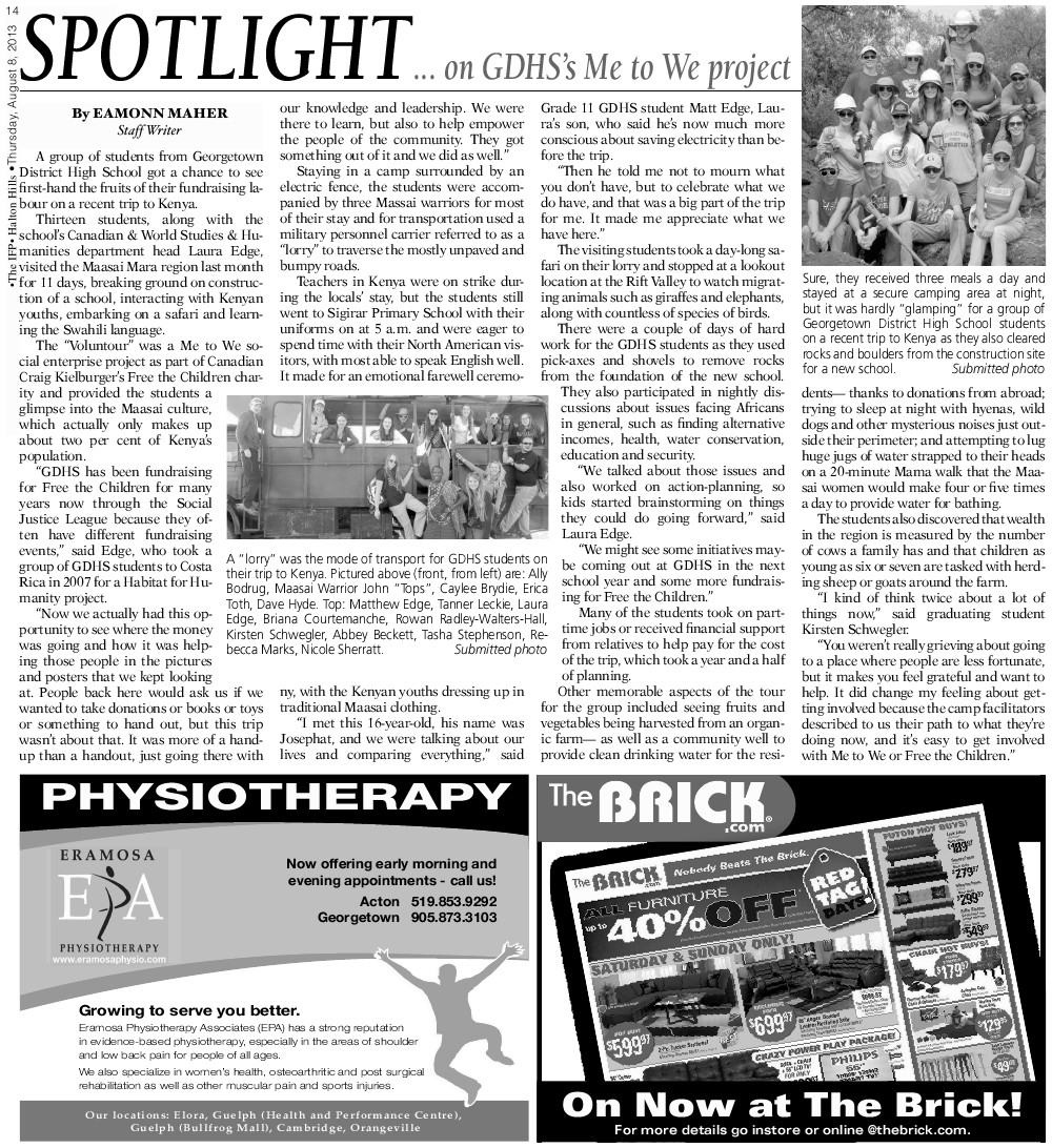 Independent & Free Press (Georgetown, ON), 8 Aug 2013