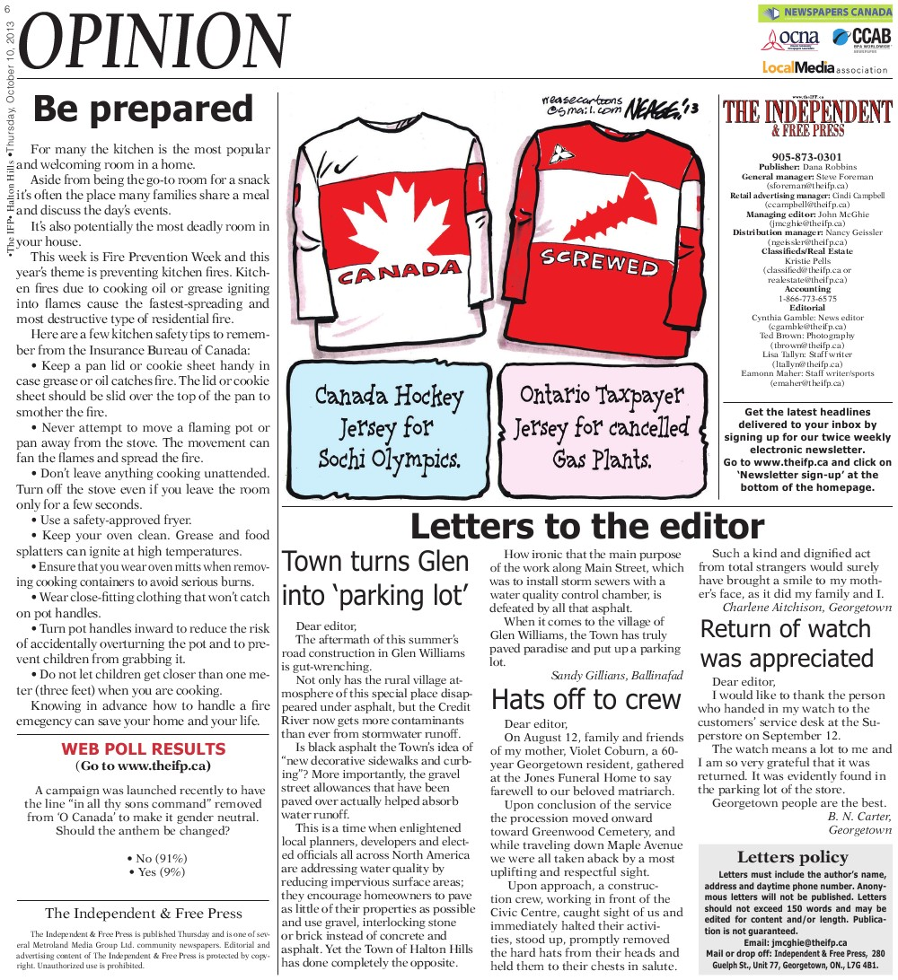 Independent & Free Press (Georgetown, ON), 10 Oct 2013