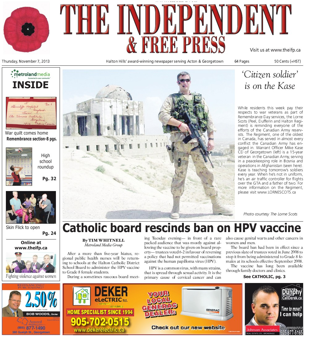 Independent & Free Press (Georgetown, ON), 7 Nov 2013