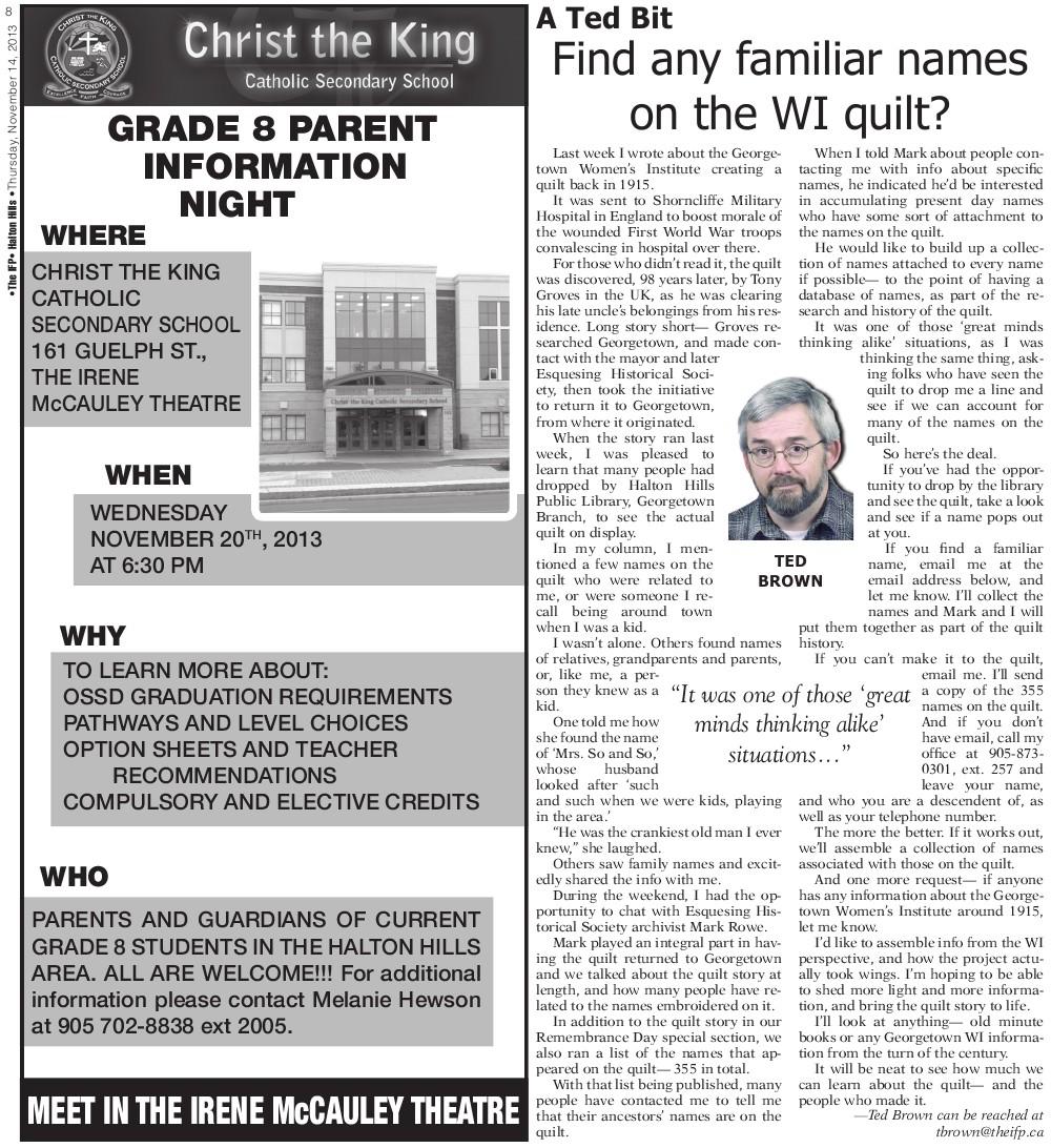 Independent & Free Press (Georgetown, ON), 14 Nov 2013