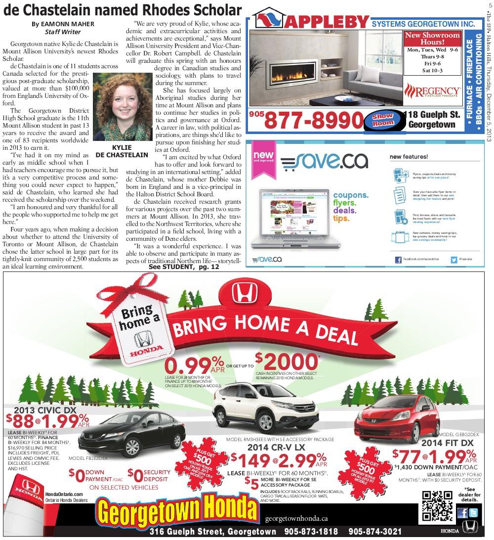 Independent & Free Press (Georgetown, ON), 5 Dec 2013