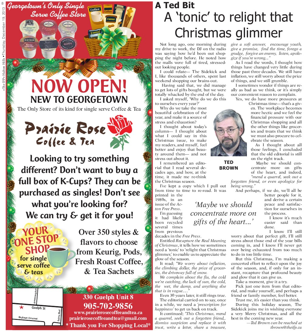 Independent & Free Press (Georgetown, ON), 19 Dec 2013