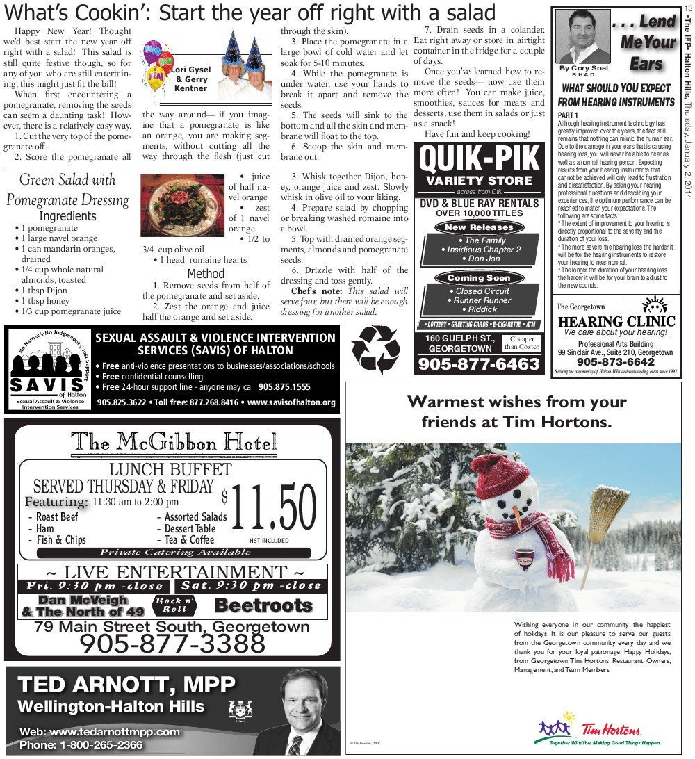 Independent & Free Press (Georgetown, ON), 1 Feb 2014