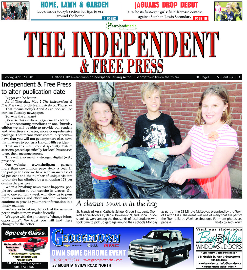 Independent & Free Press (Georgetown, ON), 23 Apr 2013