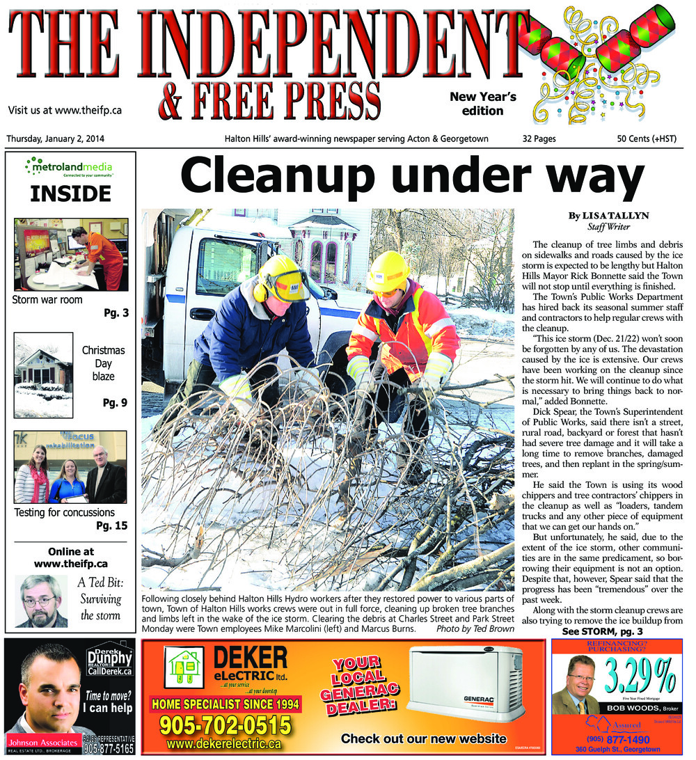 Independent & Free Press (Georgetown, ON), 2 Jan 2014