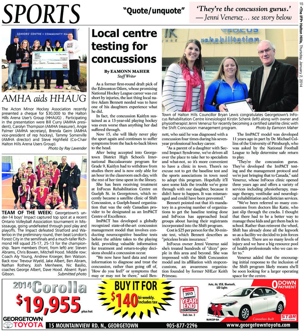 Independent & Free Press (Georgetown, ON), 2 Jan 2014