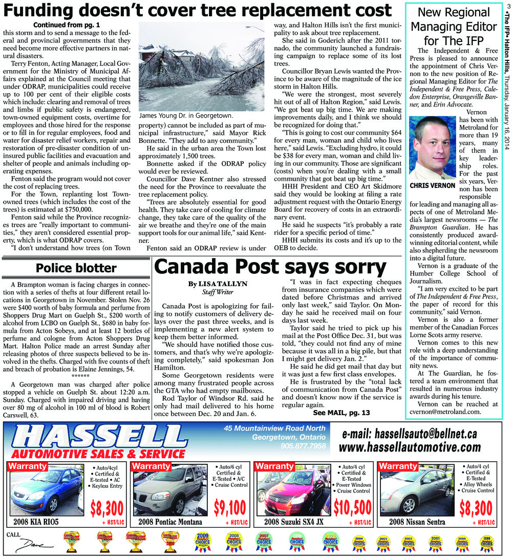Independent & Free Press (Georgetown, ON), 16 Jan 2014