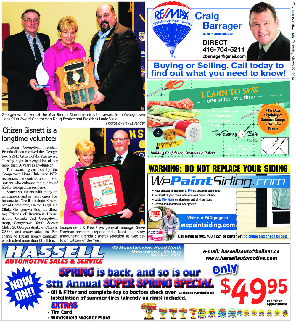 Independent & Free Press (Georgetown, ON), 27 Mar 2014