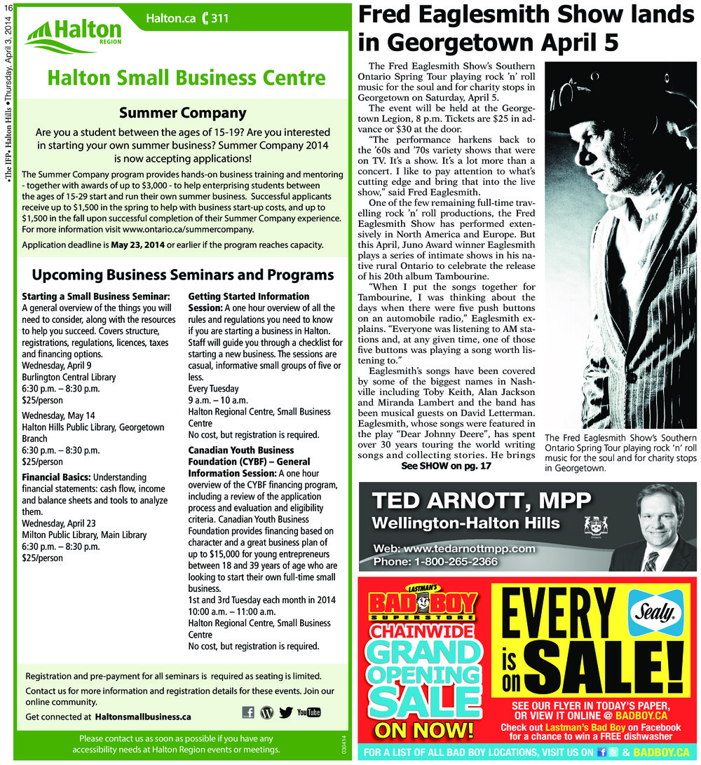 Independent & Free Press (Georgetown, ON), 3 Apr 2014