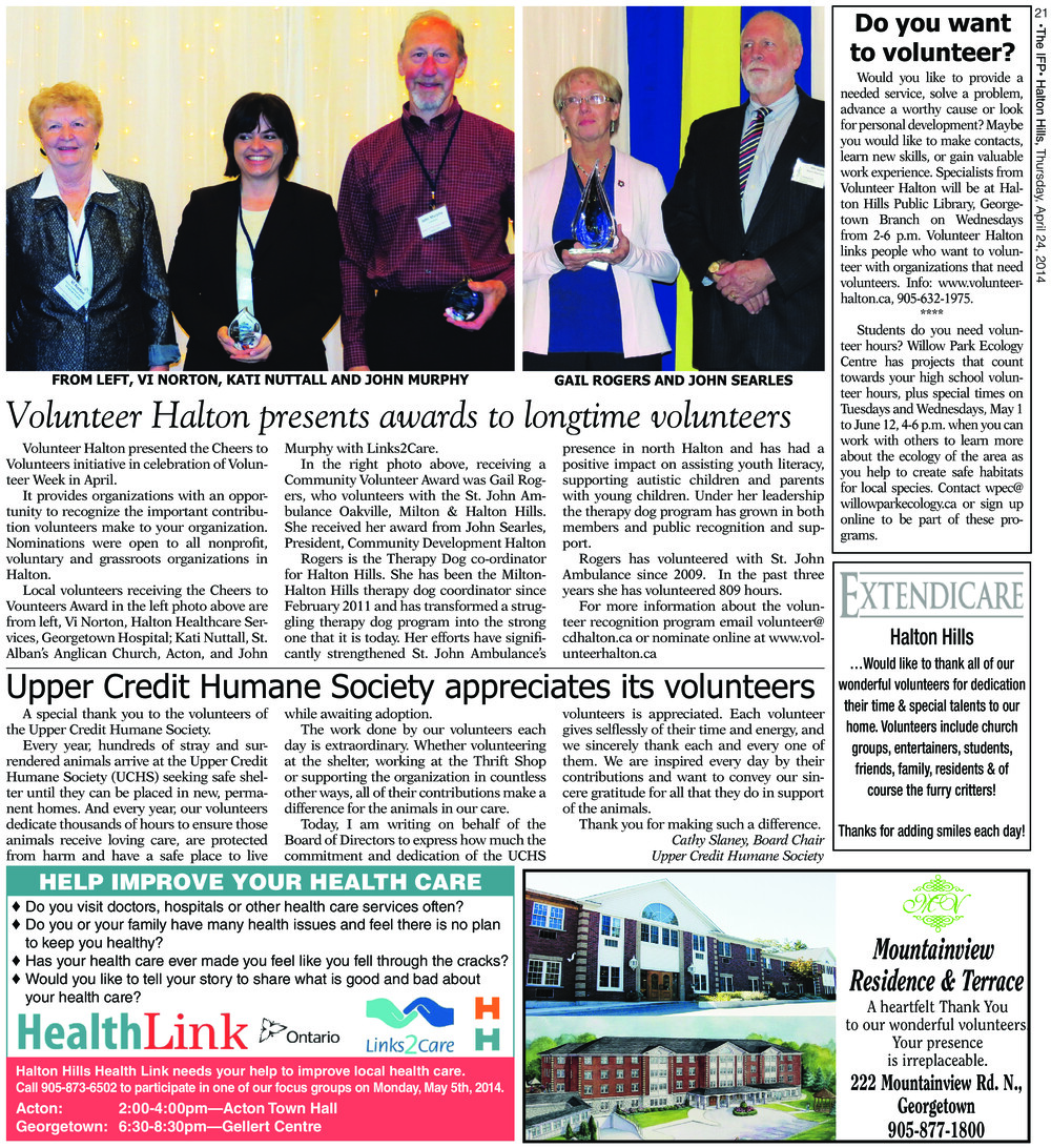 Independent & Free Press (Georgetown, ON), 24 Apr 2014