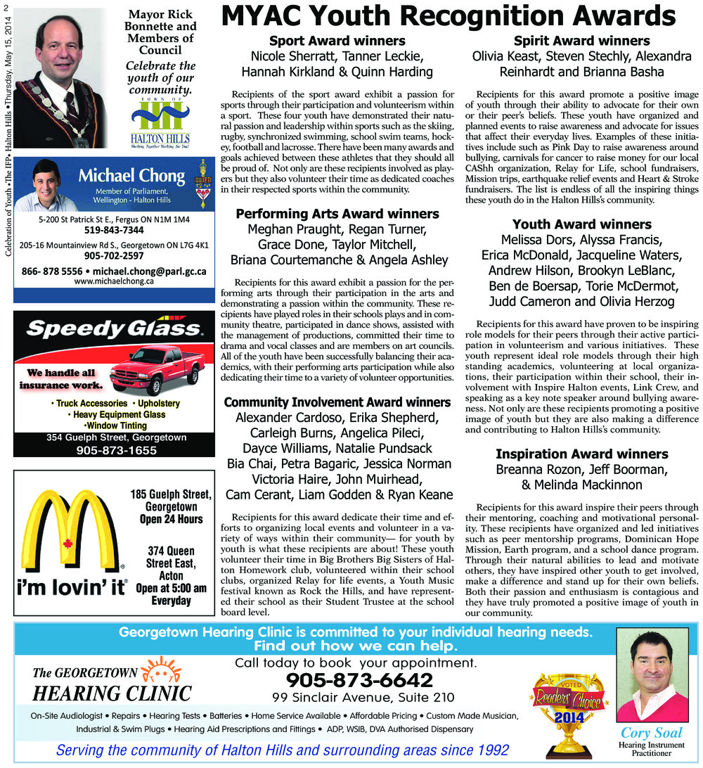 Independent & Free Press (Georgetown, ON), 15 May 2014