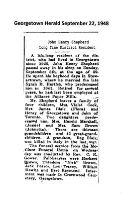 John Henry Shepherd Was Long District Resident
