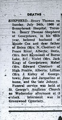 Henry Shepherd Obituary