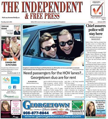 Independent & Free Press (Georgetown, ON), 9 Jul 2015