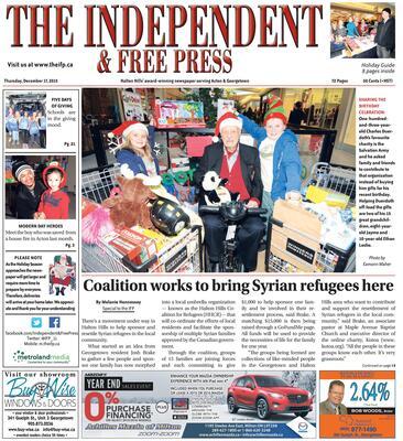 Independent & Free Press (Georgetown, ON), 17 Dec 2015