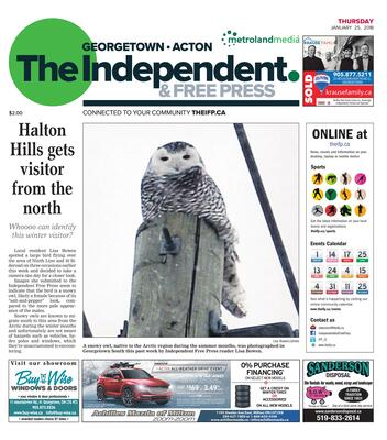 Independent & Free Press (Georgetown, ON), 25 Jan 2018