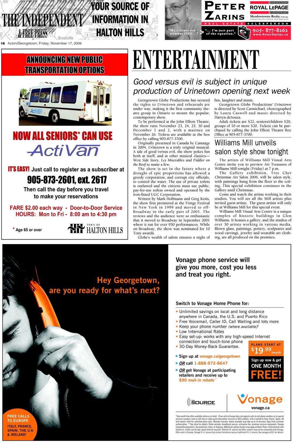 Independent & Free Press (Georgetown, ON), 17 Nov 2006