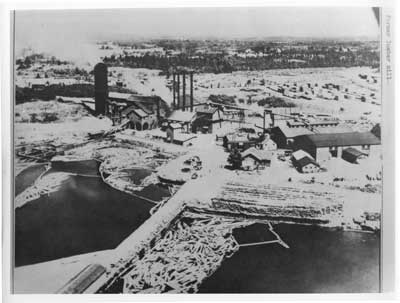Close-up Aerial View of former Lumber Mill, Thessalon, circa 1935