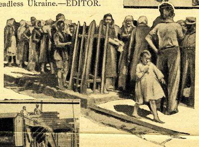 Long line of people waiting to buy bread in Ukraine