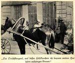 Lean horse in harness in front of a building in Kharkiv; two uniformed police officers walking by