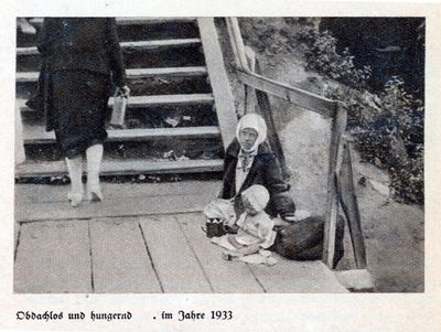 A young woman and a little girl sit at the edge of an outdoors stair landing while another woman walks up the stairs in Kharkiv