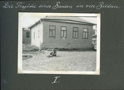 A starving farmer sits by the side of a house in Kharkiv (Death by starvation series, no. 1)