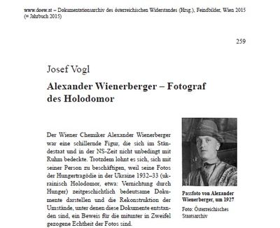 """""""Alexander Wienerberger – Fotograf Des Holodomor""""  beginning of article"""