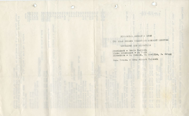 Iron Bridge Telephone Company Financial Report, 1946