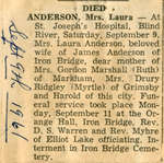 Laura Anderson Obituary, Blind River, 1961