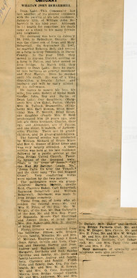 Obituary for William John Beharriell, Dean Lake, 1949