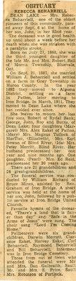 Rebecca Beharriell Obituary, Dean Lake, 1951