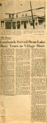 History of Old Village Store, Dean Lake, 1959