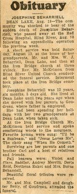 Josephine Beharriell Obituary, Dean Lake, 1939