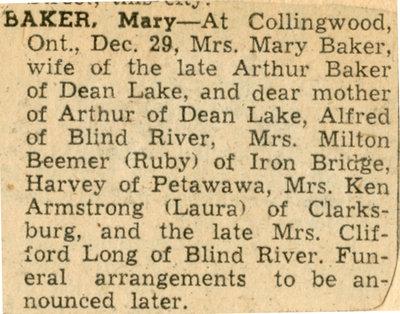 Mary Baker Obituary, Dean Lake, 1960