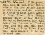 Mary Baker Obituary, Dean Lake, 1960