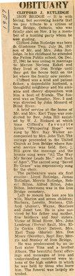 Clifford J. Rutledge Obituary, Iron Bridge, 1957