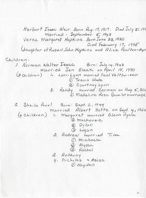 Albert Isaac Weir Family History,Thessalon, 1917-200.