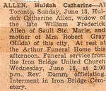Obituary for Hulda Catherine Allen - June 1954