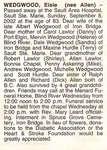 Obituary For Elsie Wedgwood - Sept 2002