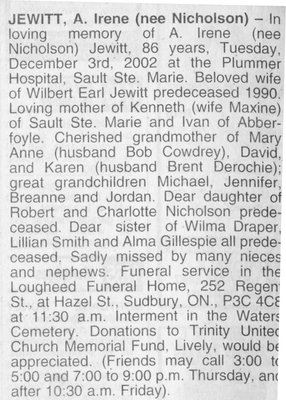 Obituary for A. Irene (nee Nicholson) Jewitt, Waters Township, 2002
