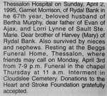 Obituary for William Garnet Morrison, Rydal Bank, 1995